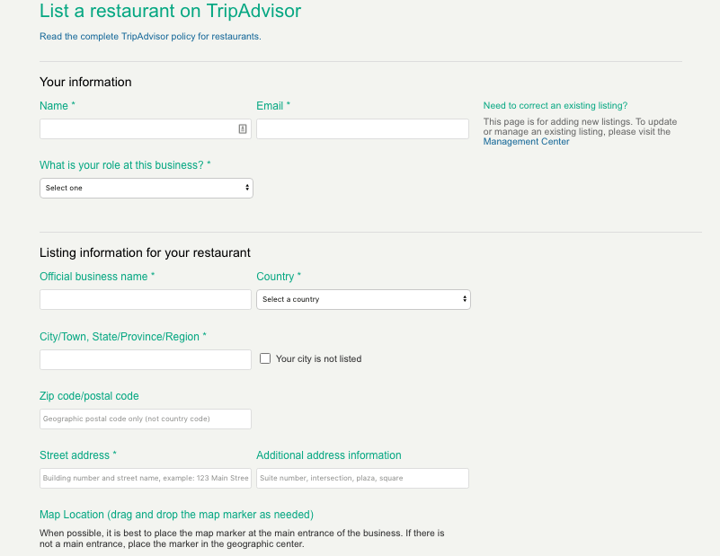 Listing restaurant on TripAdvisor