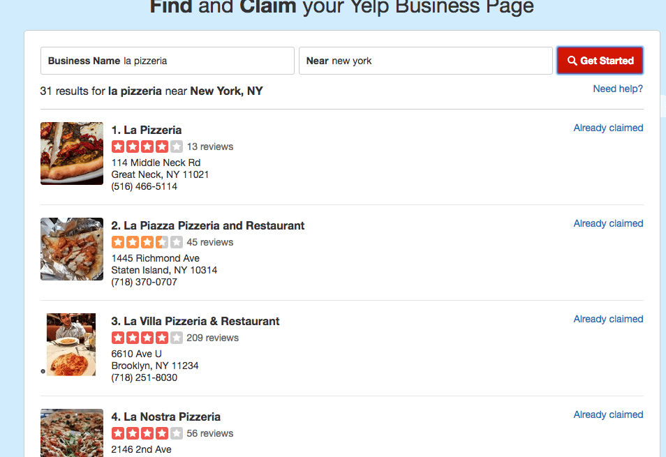Find restaurant on Yelp