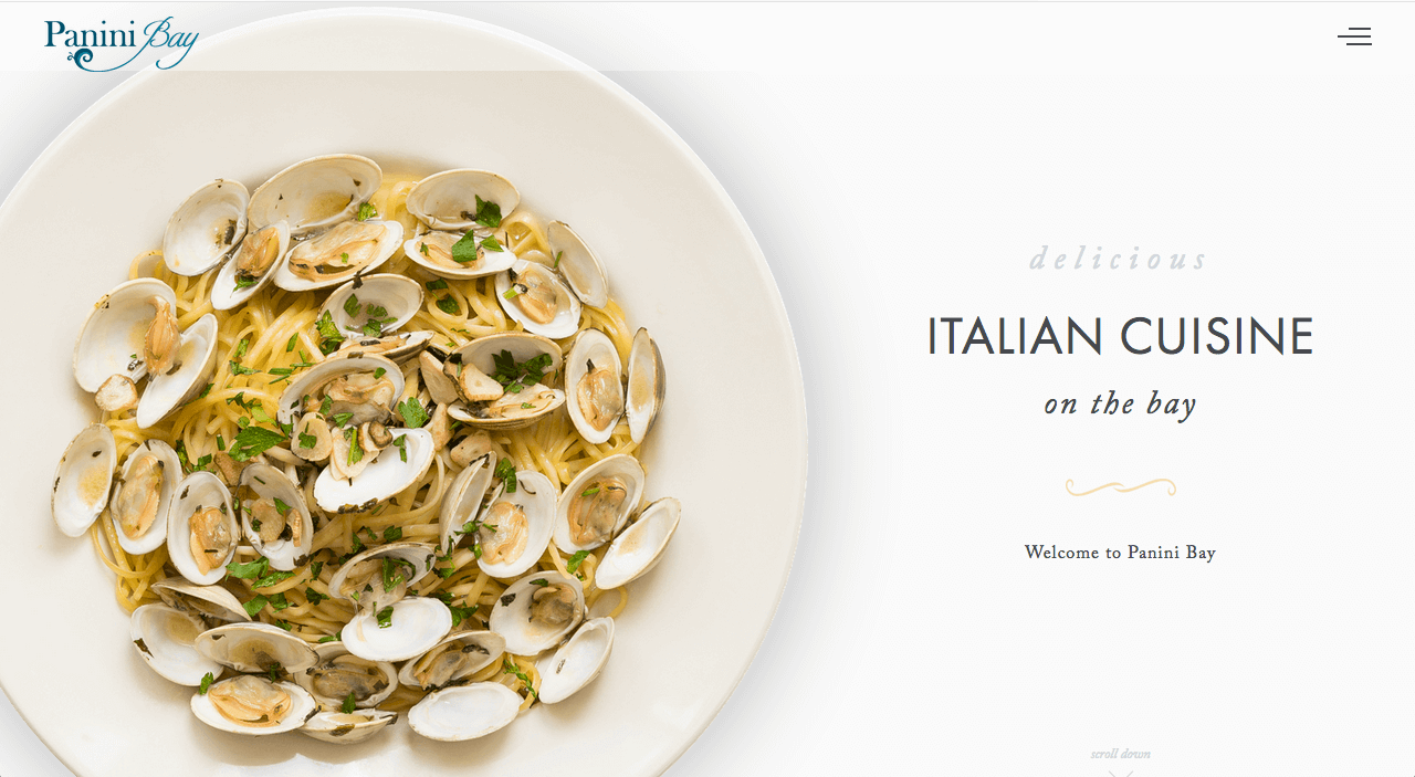 Panini Bay restaurant website design