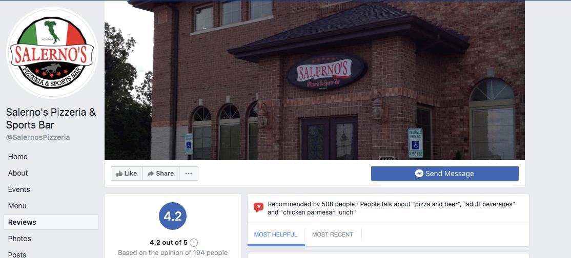 Facebook restaurant review